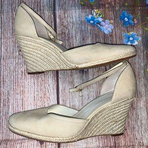 Anne Klein Cream Wedges Ankle Strap  Size 8 1/2